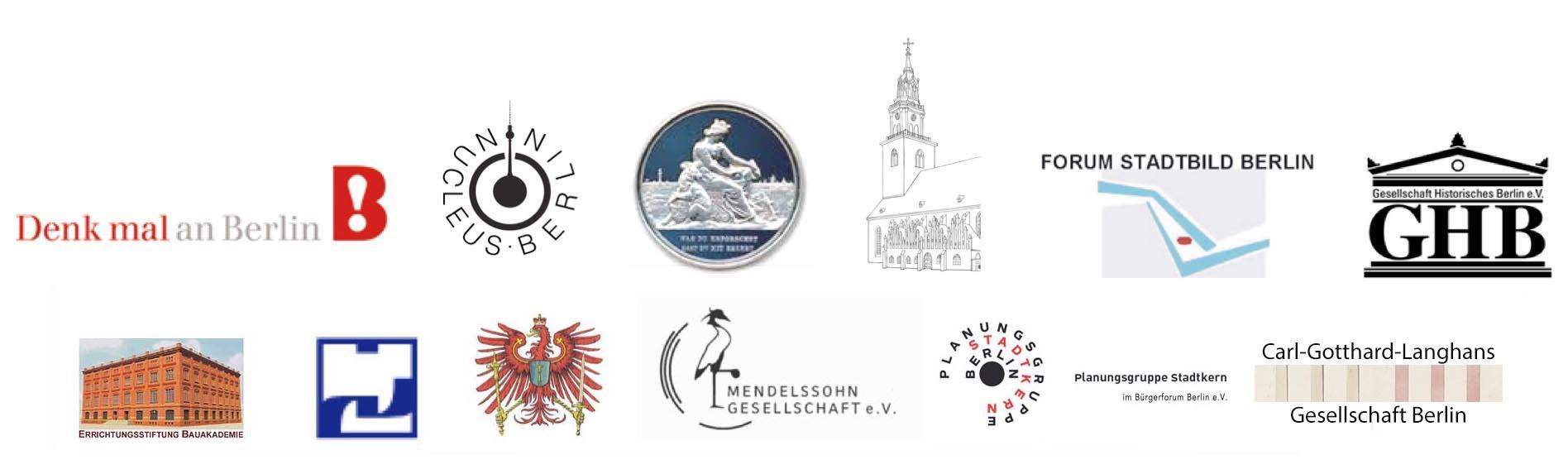 Logos der Vereine des Bürgerforums Berlin eV_mit Bauakademie_ohne Werkbund_mit Planungsgruppe mit Langhans
