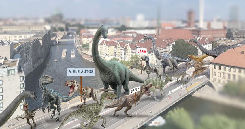 Mühlendamm mit Dinos